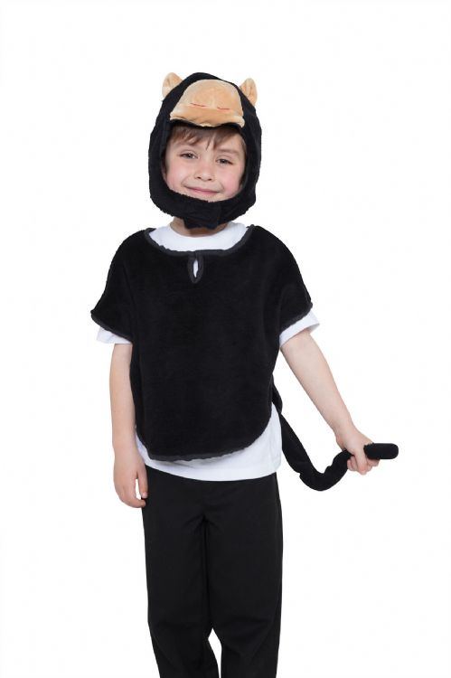 Childs Unisex Monkey Tabard Hood & Tail Costume Book Day Animal Fancy Dress Outfit